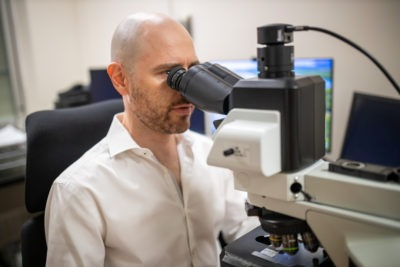 Pathologists currently use a microscope to view sections of human tissue